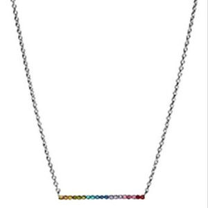 Coach Silver Rainbow Bar Necklace NWT